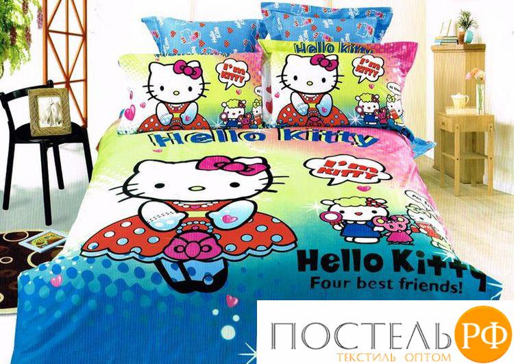 Постельное белье КПБ Tango Hello Kitty Китай 200х220 см Двуспальное (евро) Хлопковый сатин 50х70 (2 шт)